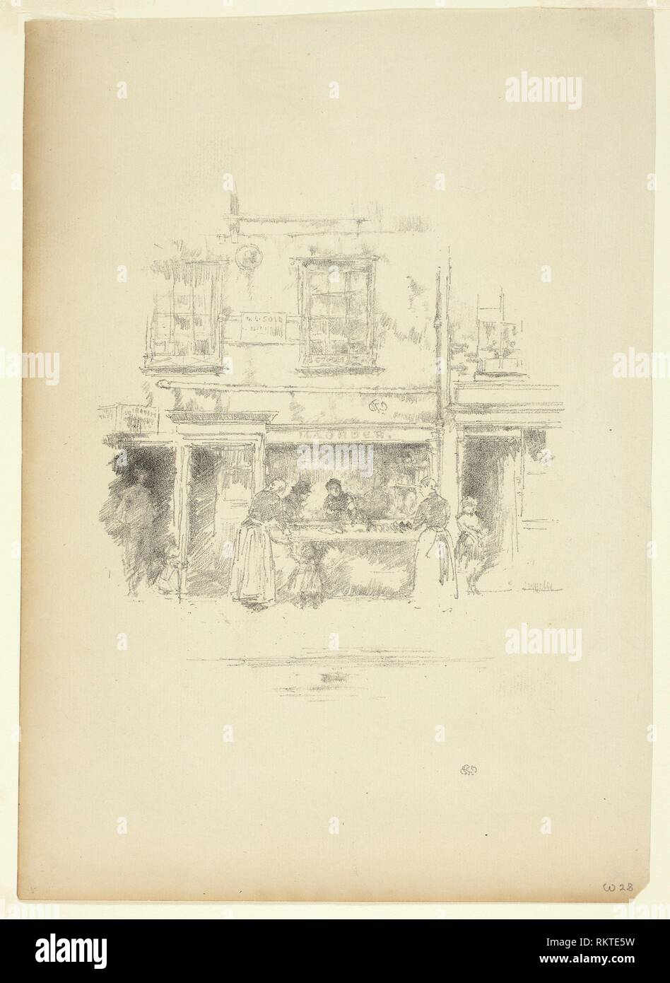 Maunder's Fish Shop, Chelsea - 1890 - James McNeill Whistler American, 1834-1903 - Artist: James McNeill Whistler, Origin: United States, Date: - Stock Image