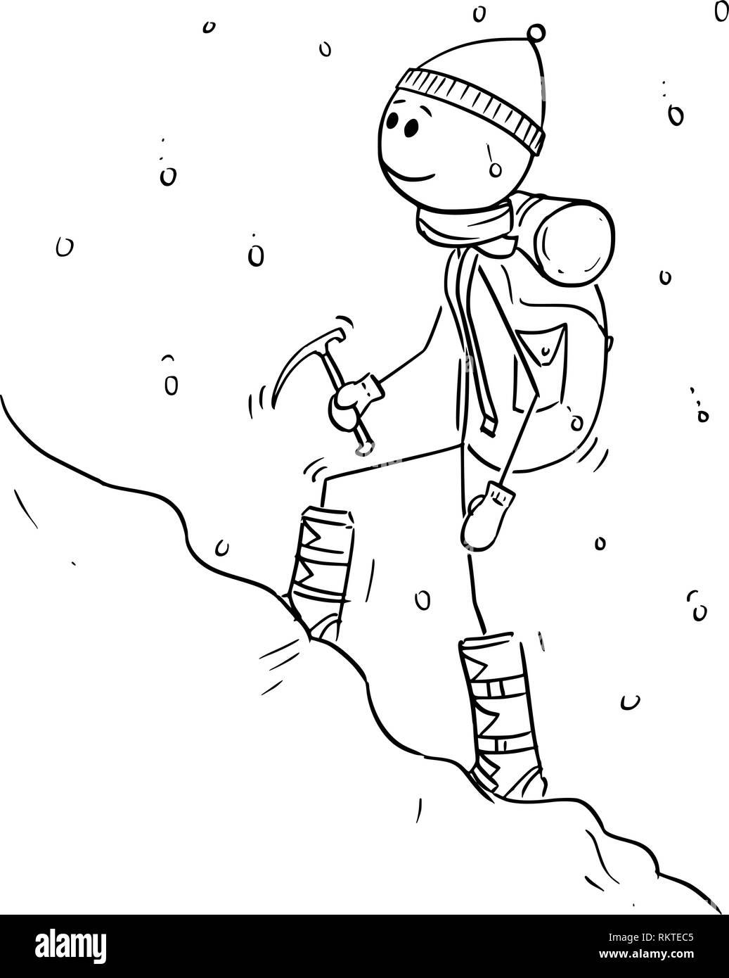climb mountain snow black and white stock photos images alamy Mount McKinley Alaska cartoon drawing of mountaineer or alpinist walking through snow stock image