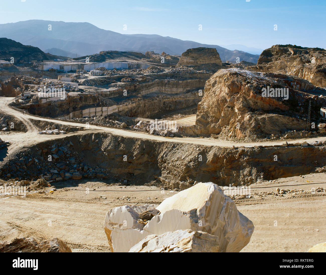 Spain, Andalusia, province of Almeria, Macael. Marble quarry. Landscape. - Stock Image
