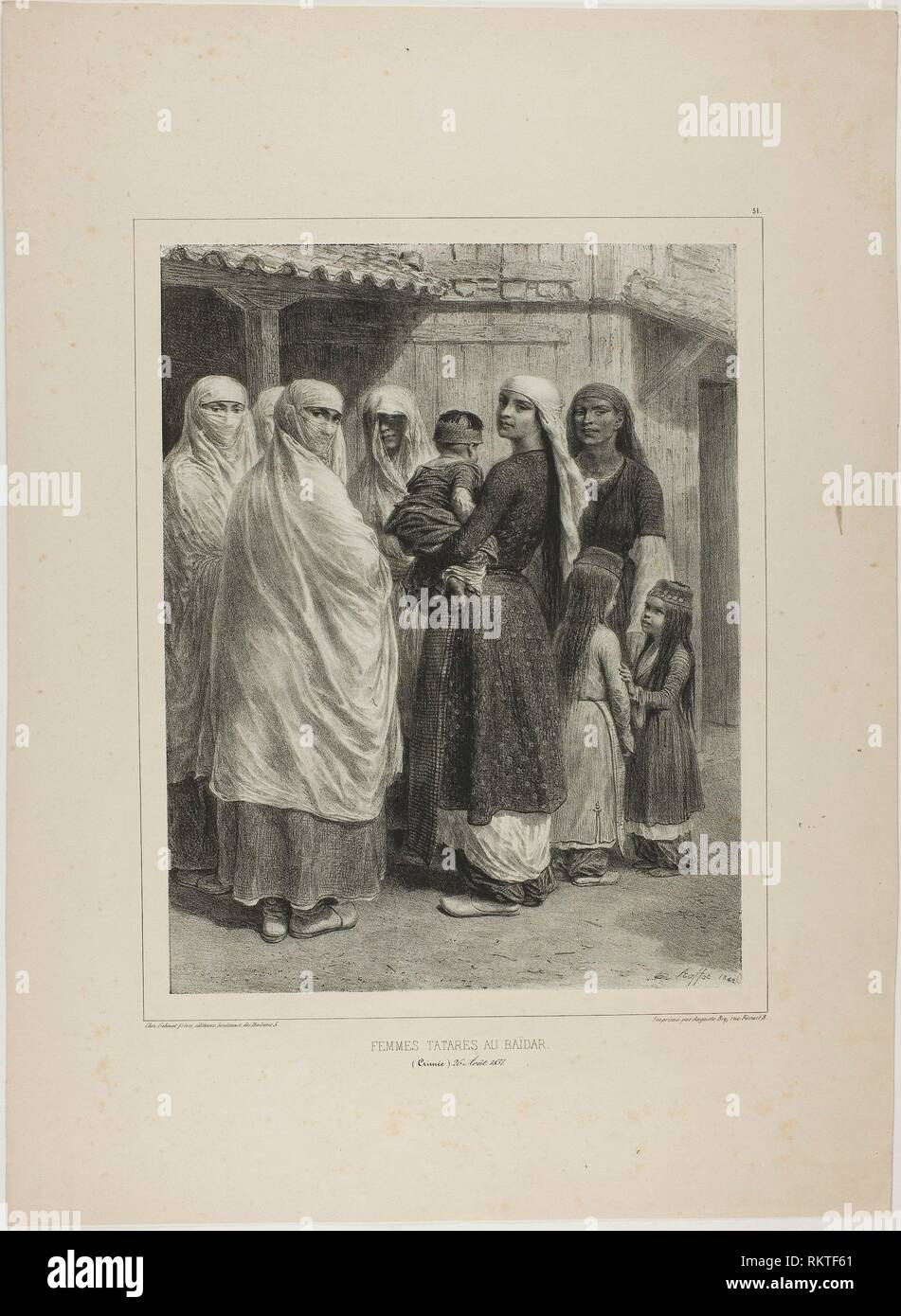 Tartar Women at the Baïdar, Crimea, August 26, 1837 - 1842 - Denis Auguste Marie Raffet (French, 1804-1860) printed by Auguste Bry (French, 19th - Stock Image