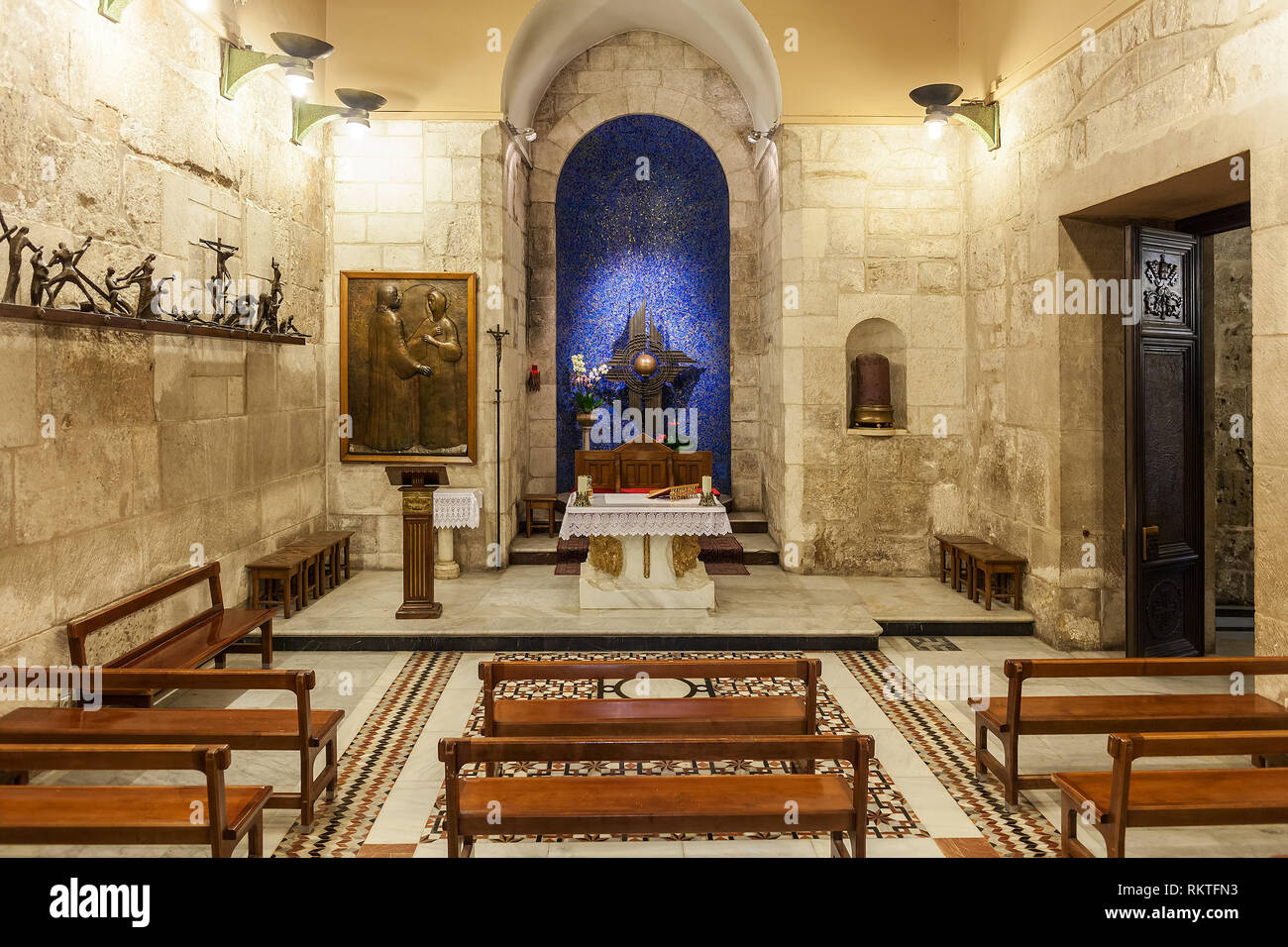 Franciscan Chapel of the Blessed Sacrament (aka Chapel of the Apparition) inside of The Church of the Holy Sepulchre in Jerusalem. - Stock Image