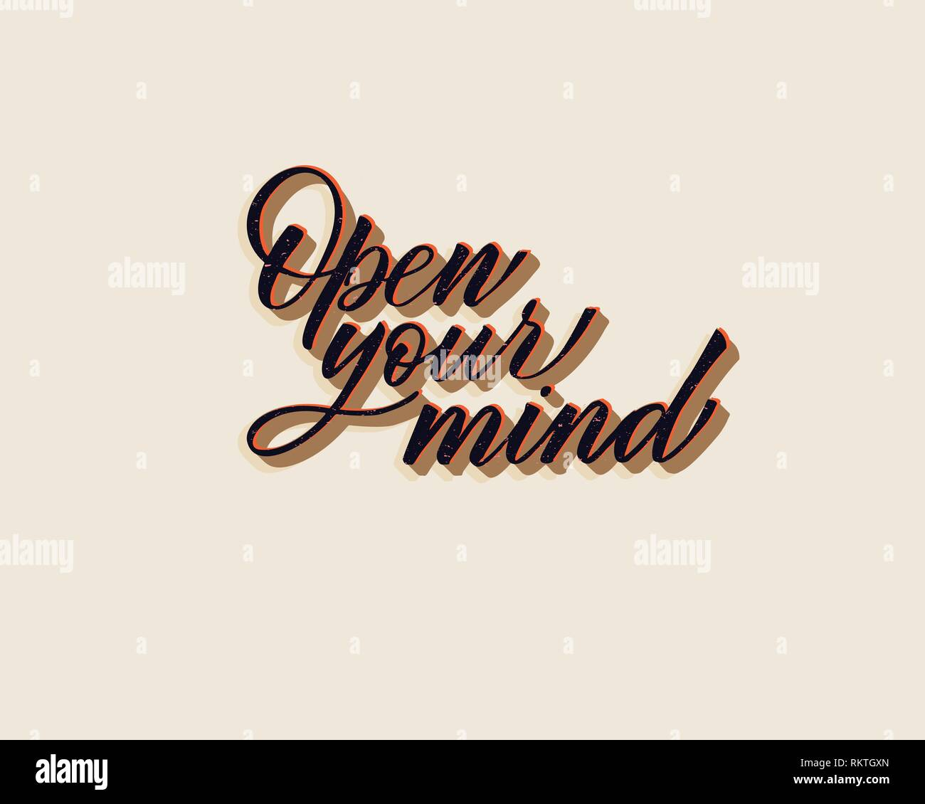 Open your mind - hand lettering inscription to holiday design, black and white ink calligraphy - Stock Vector