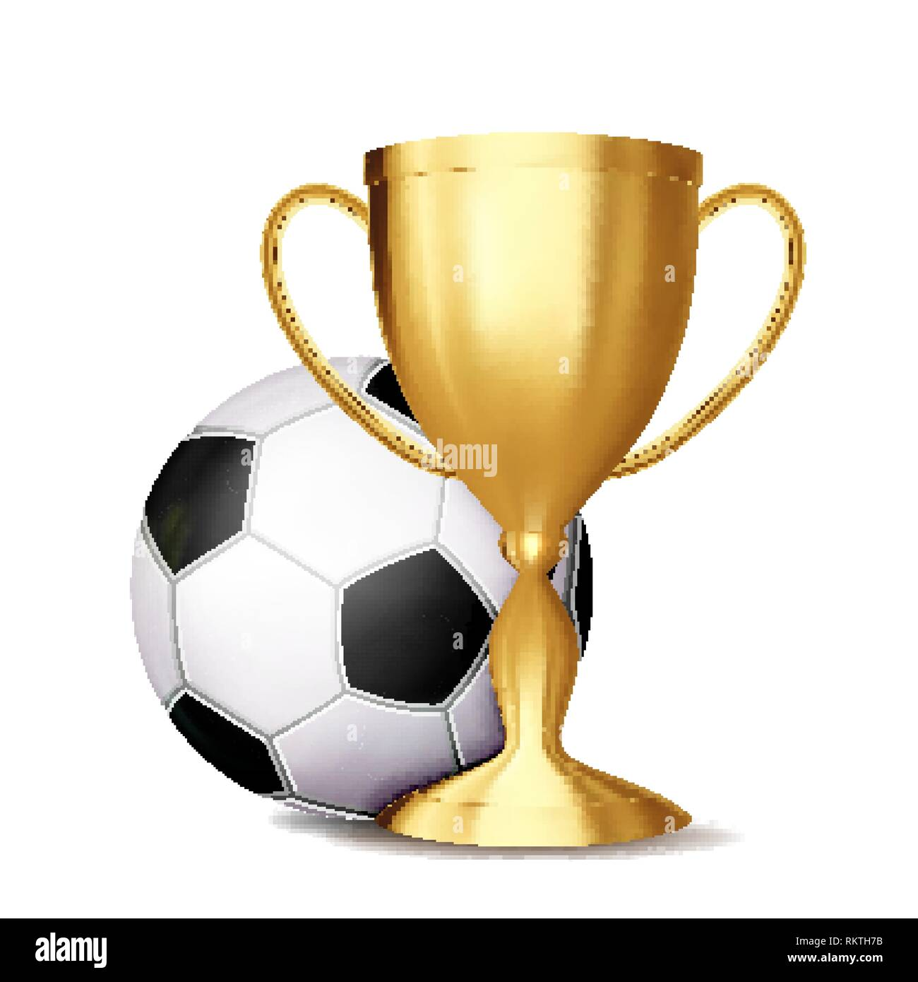 Soccer Award Vector. Football Ball, Golden Cup. For Sport Promotion. Tournament, Championship Flyer Design. Football Club, Academy. Invitation Element - Stock Image