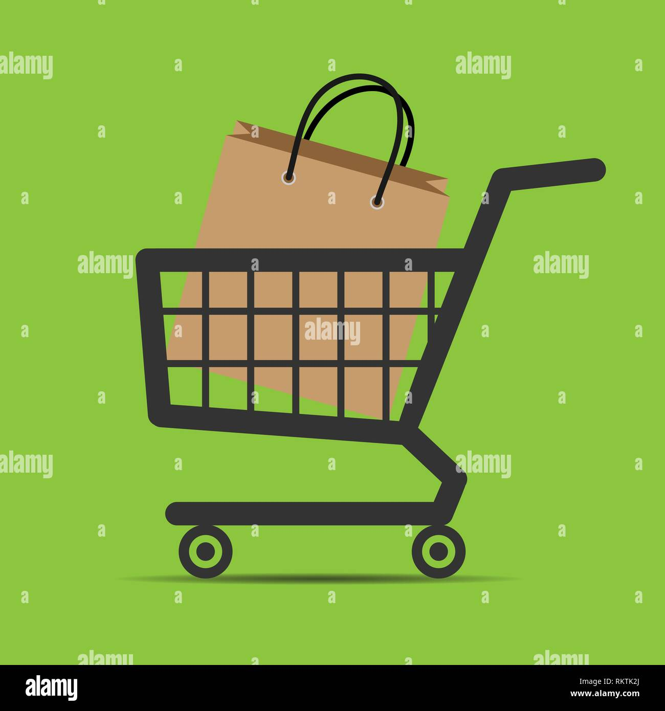 In the shopping trolley is a package with the goods, e-commerce - Stock Image