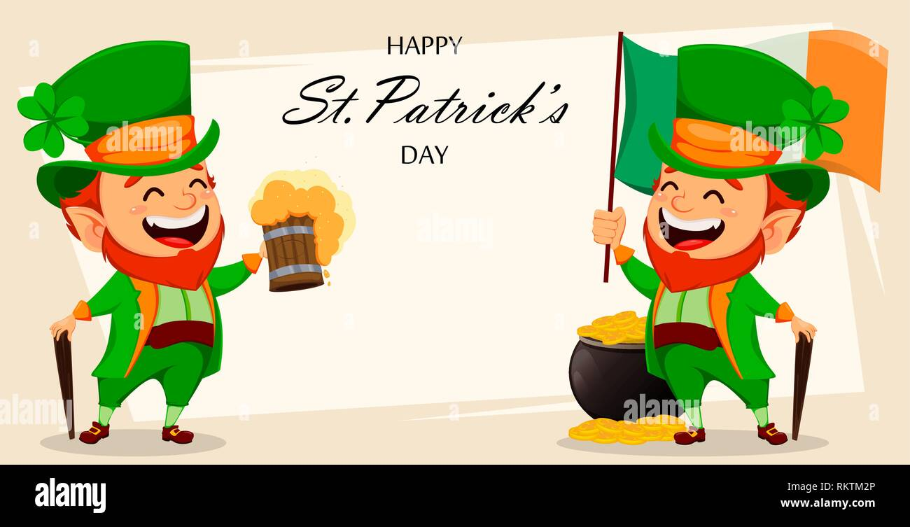Saint Patrick day greeting card with two funny Leprechauns ...