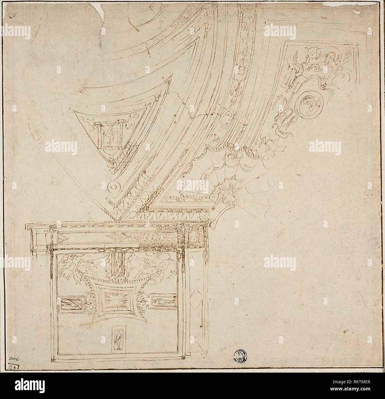 Ceiling Decoration with Grotesques - 1530s - Perino del Vaga, or circle of Italian, 1500/01-1547 - Origin: Italy, Date: 1530-1539, Medium: Pen and - Stock Image