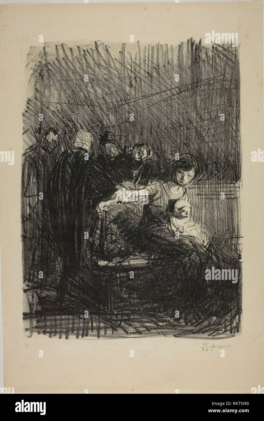Recess of the Hearing - July 1914 - Jean Louis Forain French, 1852-1931 - Artist: Jean Louis Forain, Origin: France, Date: 1914, Medium: Lithograph - Stock Image