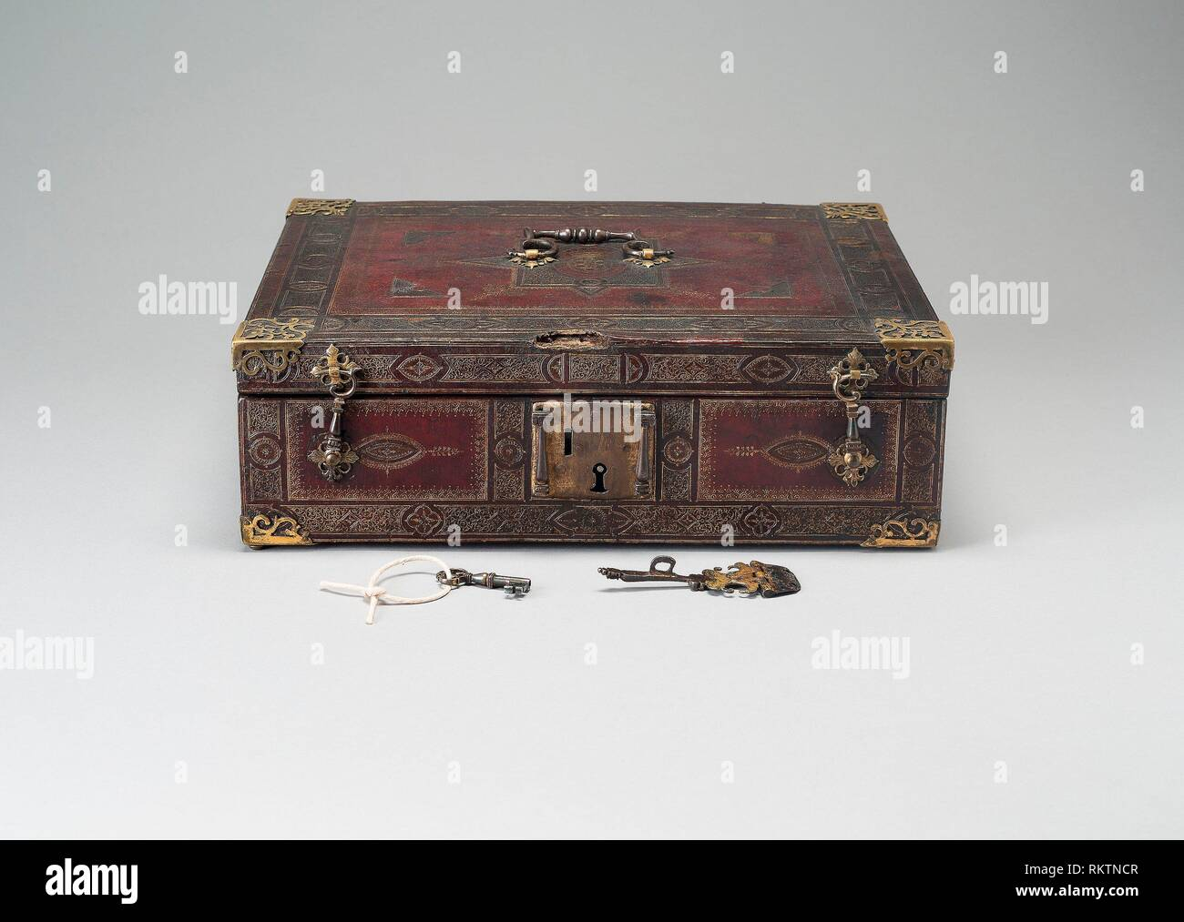 Box - 1600/50 - Florence, Italy - Origin: Florence, Date: 1600-1650, Medium: Leather, tooled and gilded; silk, velvet, and metal mounts, Dimensions: - Stock Image