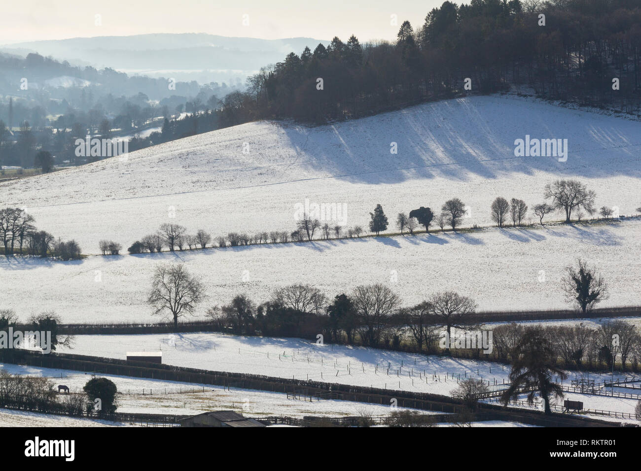 Winter view of the Hableden Valley with snow on the ground. - Stock Image