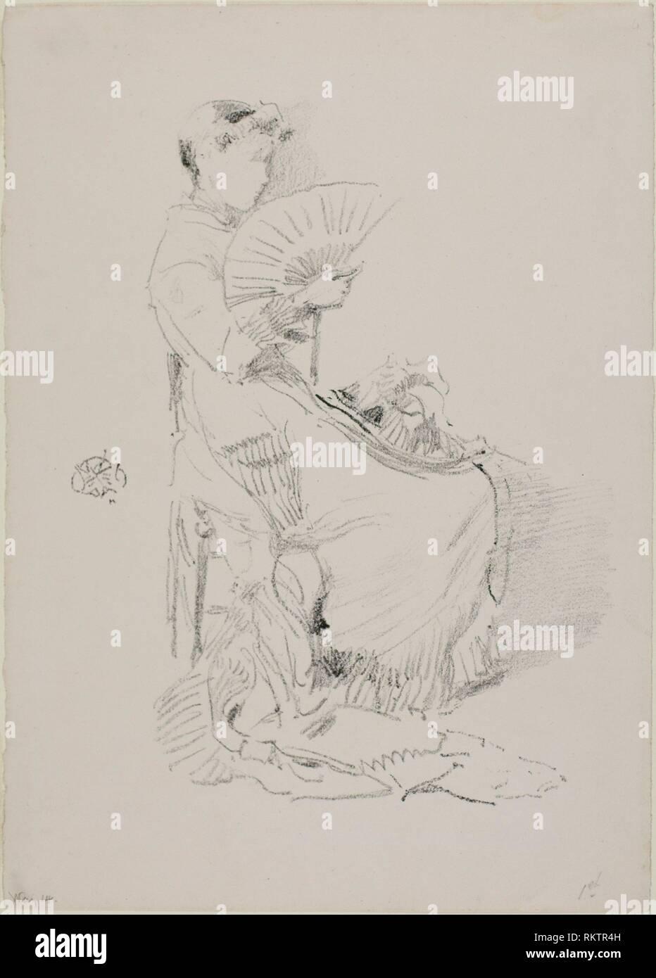 The Fan - 1879 - James McNeill Whistler American, 1834-1903 - Artist: James McNeill Whistler, Origin: United States, Date: 1879, Medium: Transfer - Stock Image