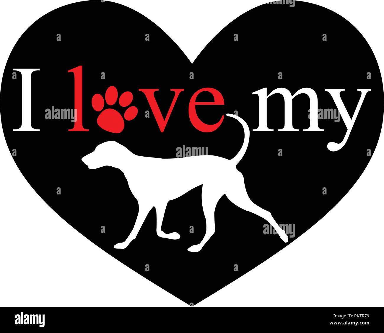 I love my dog - vector Stock Vector