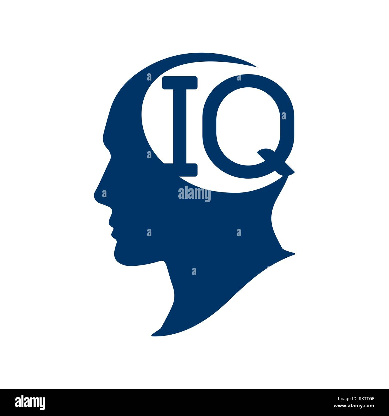 IQ intelligence quotient. Silhouette human head with IQ vector illustration. IQ test concept. - Stock Image