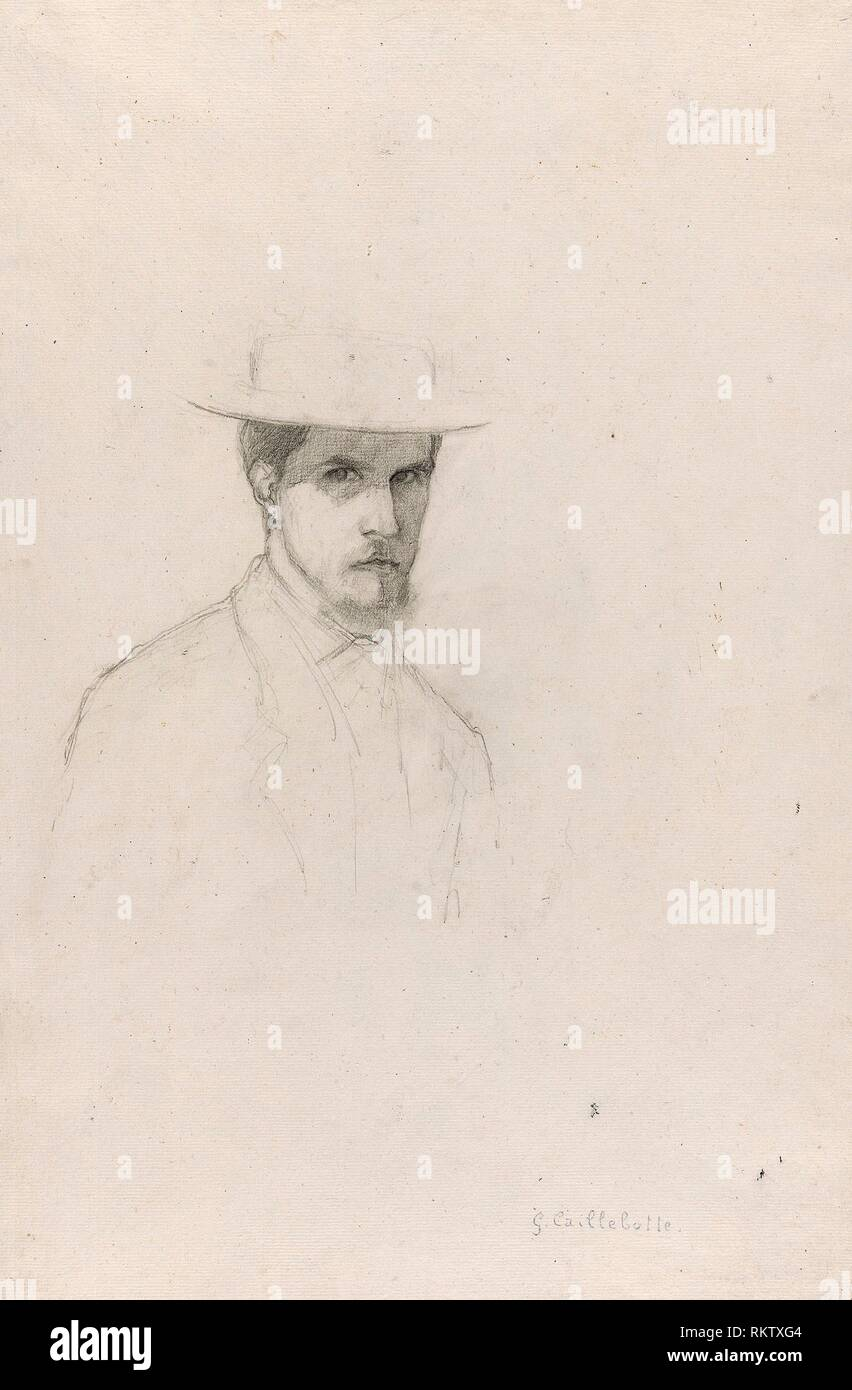 Self-Portrait with a Hat - c. 1879 - Gustave Caillebotte French, 1848-1894 - Artist: Gustave Caillebotte, Origin: France, Date: 1874–1884, Medium: - Stock Image