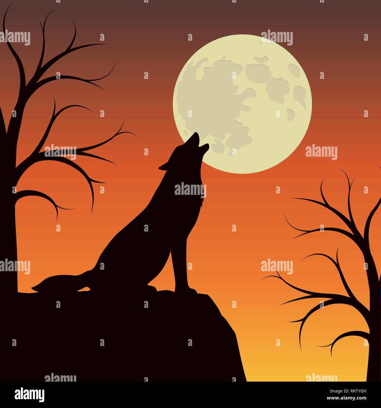 wolf howls at the full moon orange and brown landscape vector illustration EPS10 - Stock Image