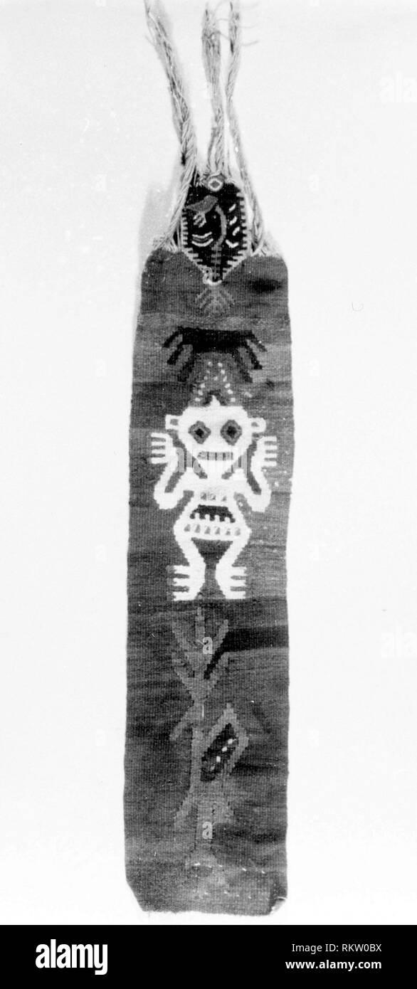 Fragment (Band) - A.D. 1000/1476 - Possibly Rimac Valley, central coast, Peru - Origin: Peru, Date: 1000-1476, Medium: slit tapestry, Dimensions: - Stock Image