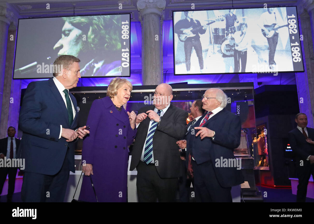 Irish President Michael D Higgins and Sabina Coyne with Mayor of Liverpool, Joe Anderson (2nd right) and minister Pat Breen (left) at the British Music Experience in Liverpool on the second day of an official visit to the UK. - Stock Image