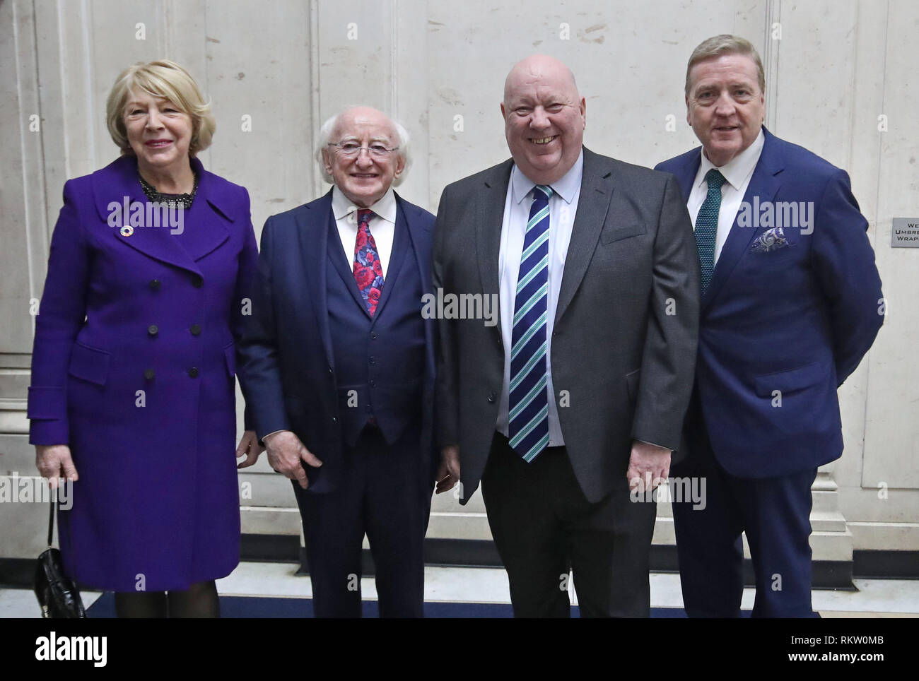 Irish President Michael D Higgins and Sabina Coyne meet Mayor of Liverpool, Joe Anderson (2nd right) and minister Pat Breen (right) at the British Music Experience in Liverpool on the second day of an official visit to the UK. - Stock Image