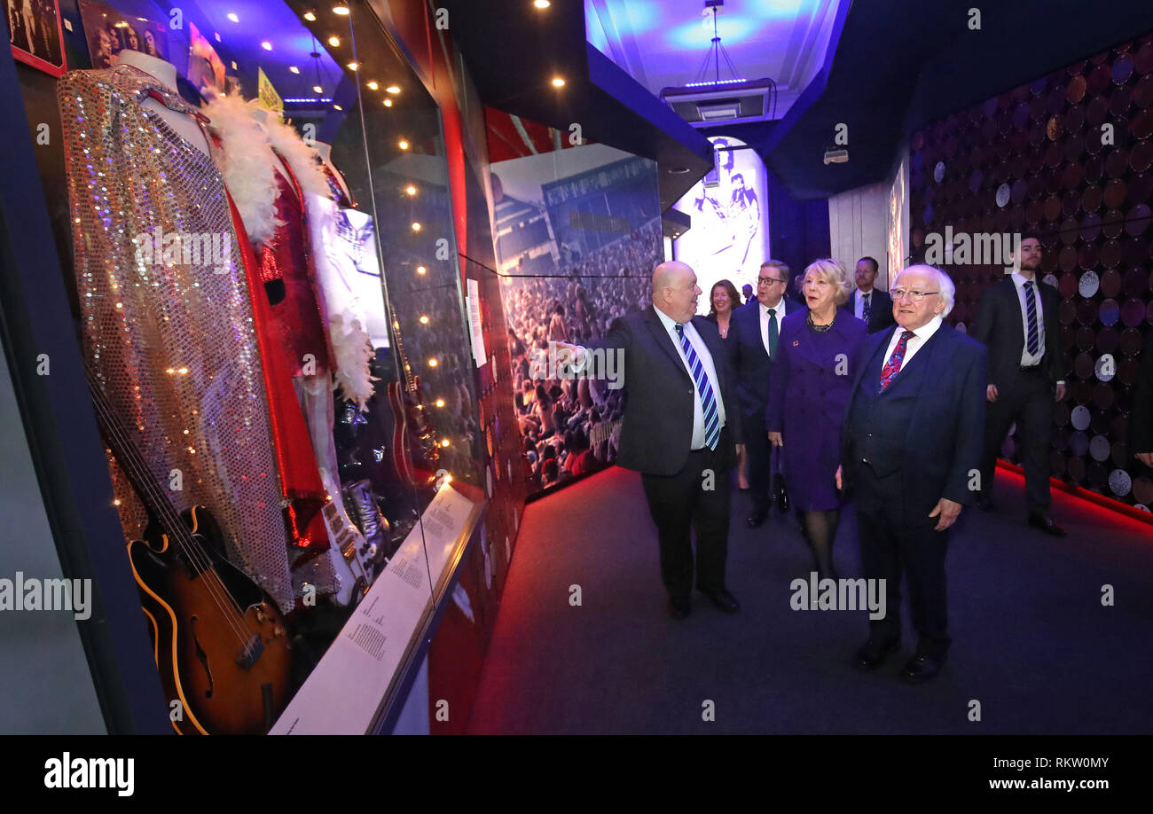 Irish President Michael D Higgins and Sabina Coyne with Mayor of Liverpool, Joe Anderson (left) at the British Music Experience in Liverpool on the second day of an official visit to the UK. - Stock Image