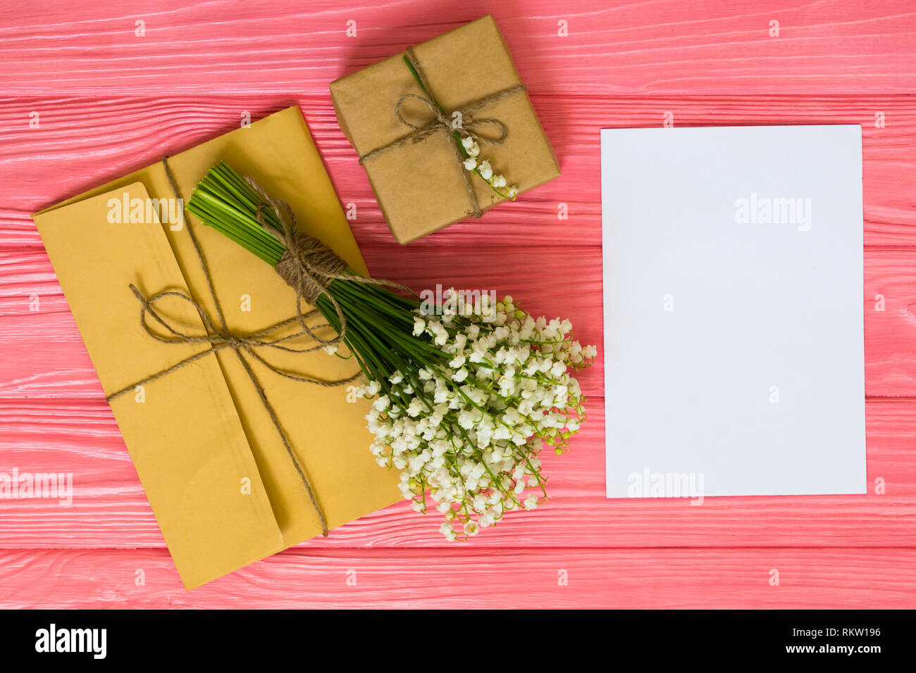 Womens Day Valentines Birthday Greeting Concept Background Top View Flat Lay Mockup