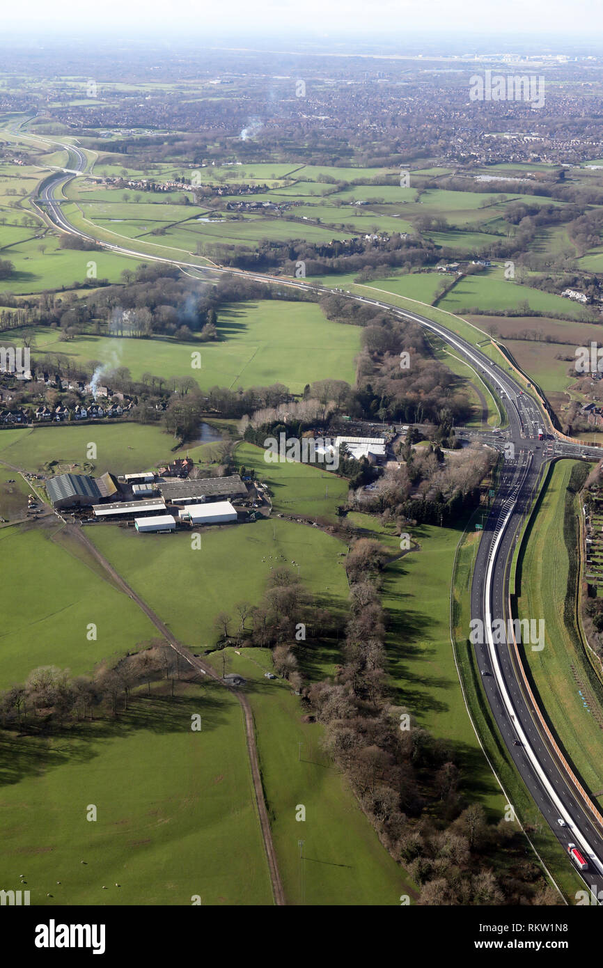 aerial view of the A555 Manchester Airport Relief Road - Stock Image