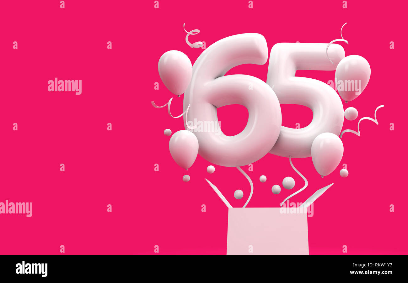 Happy 65th Birthday Surprise Balloon And Box 3D Rendering