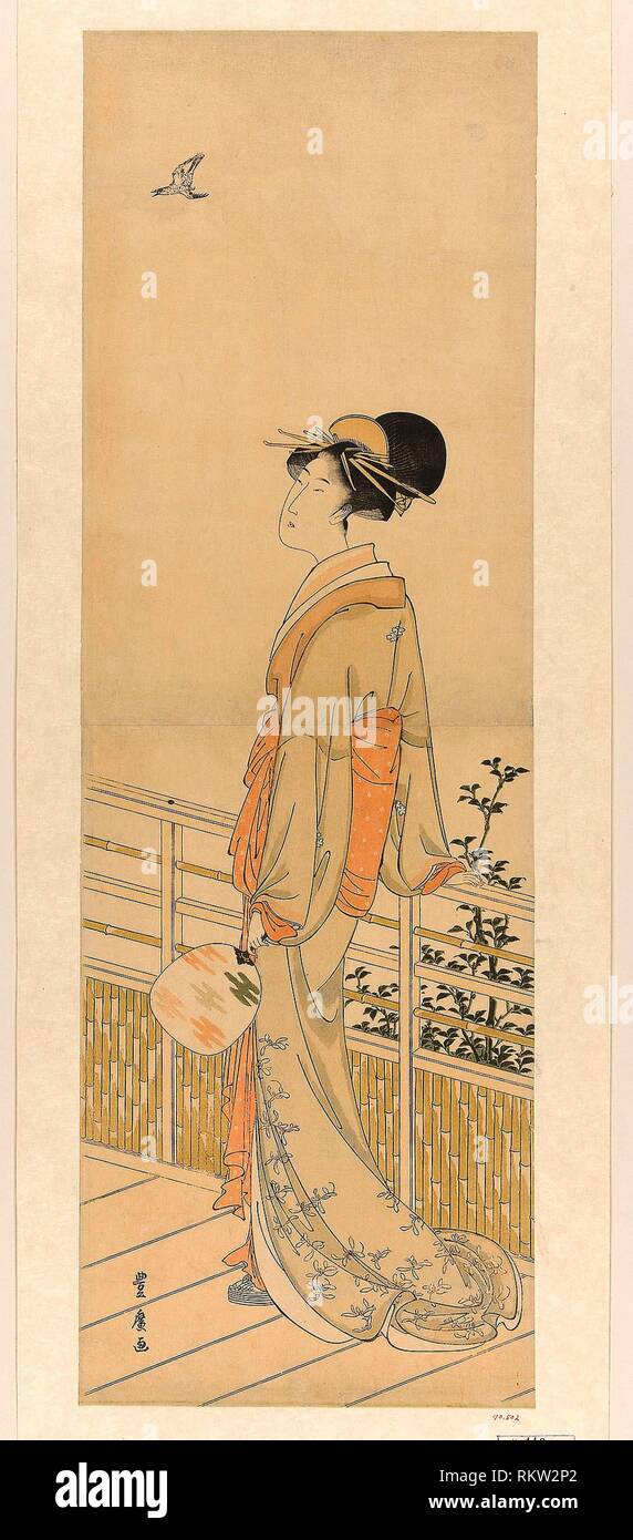 Listening to the cuckoo's cry - Utagawa Toyohiro Japanese, 1773-1828 - Artist: Utagawa Toyohiro, Origin: Japan, Medium: Color woodblock print; - Stock Image