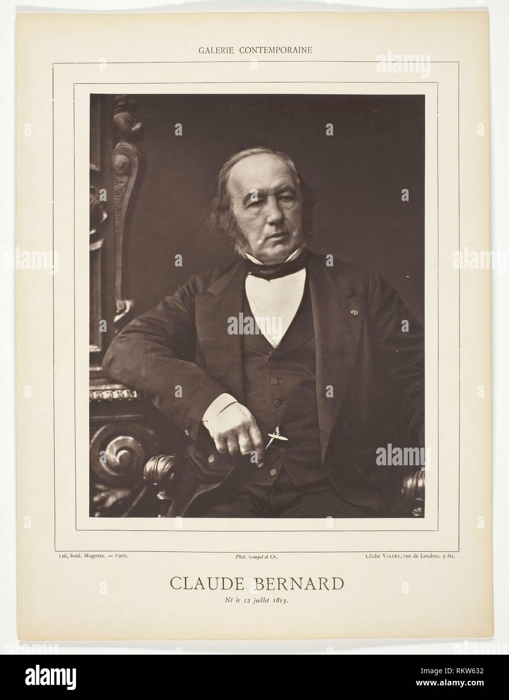 Claude Bernard - c. 1876 - Valery French, 19th century - Artist: Valery, Origin: France, Date: 1871–1877, Medium: Woodburytype, from the periodical - Stock Image