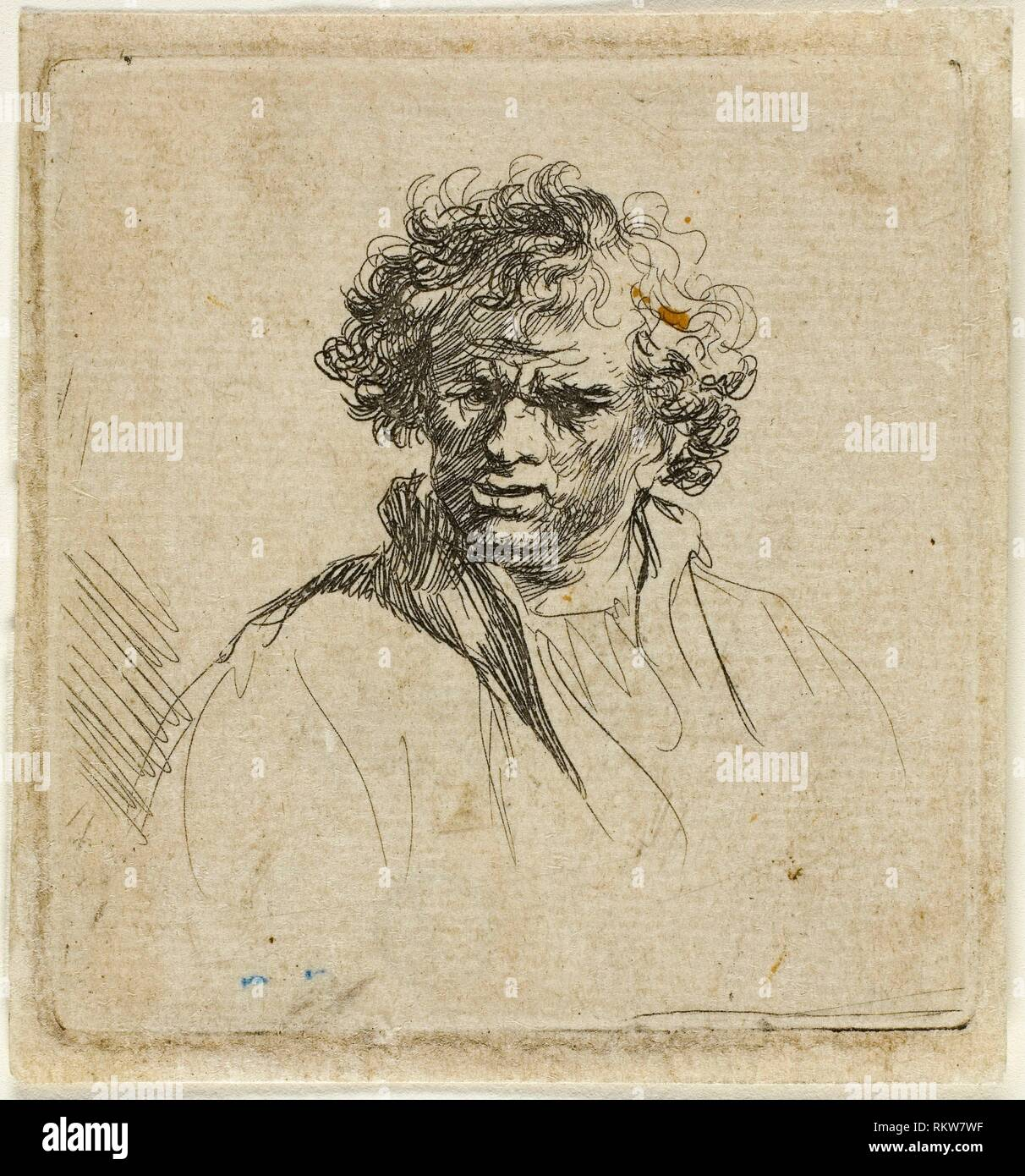 Curly Headed Man with a Wry Mouth - 1630/80 - Possibly Ferdinand Bol (Dutch, 1616-1680) In the manner of Rembrandt van Rijn (Dutch, 1606-1669) - - Stock Image