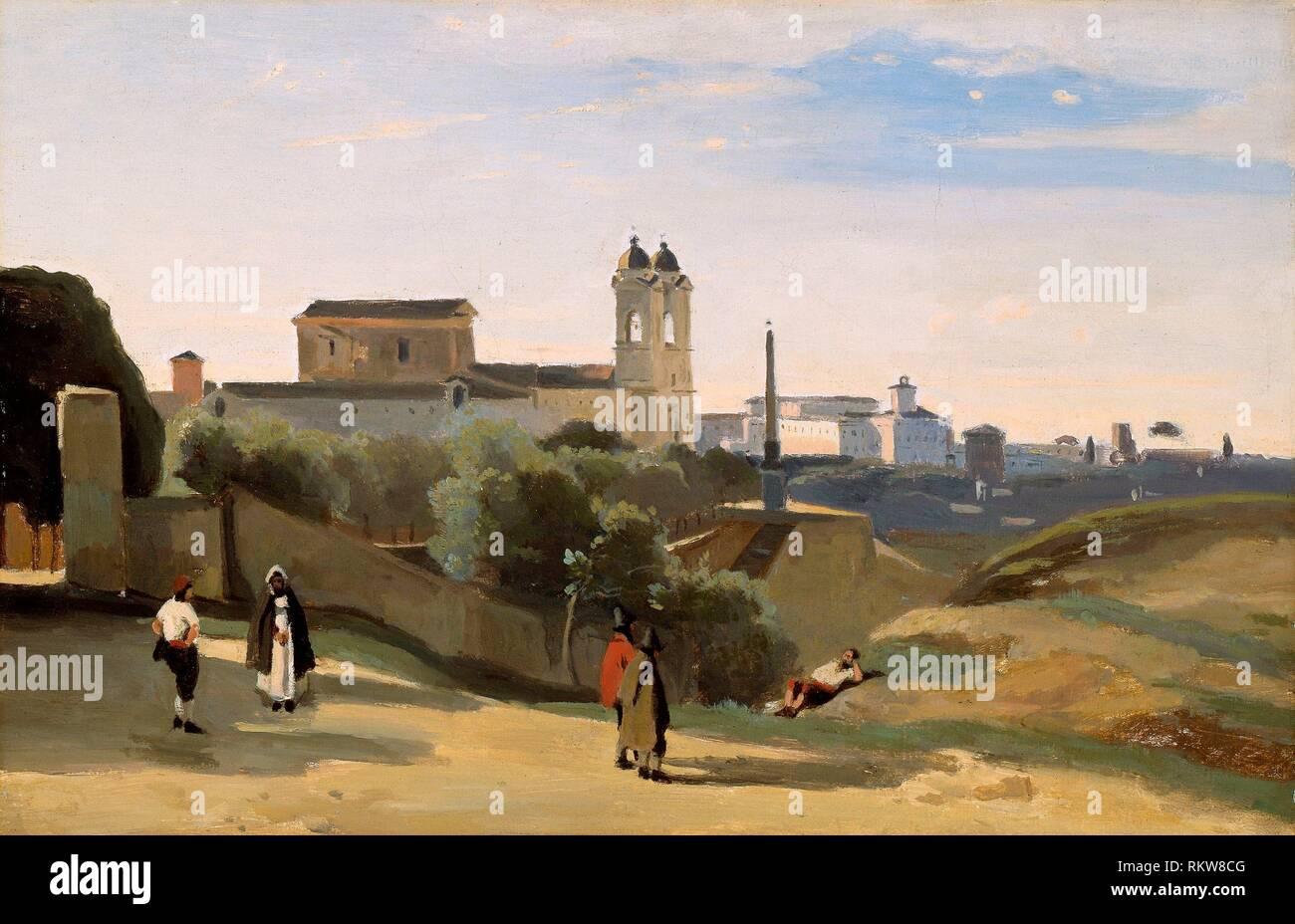 Monte Pincio, Rome - 1840/50 - Jean-Baptiste-Camille Corot French, 1796-1875 - Artist: Jean Baptiste Camille Corot, Origin: France, Date: 1840-1850, - Stock Image