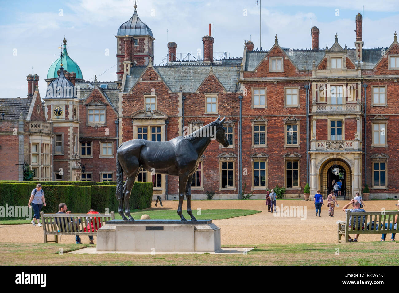 Statue of the Queens Horse Estimate outside the front entrance to Sandringham House. - Stock Image