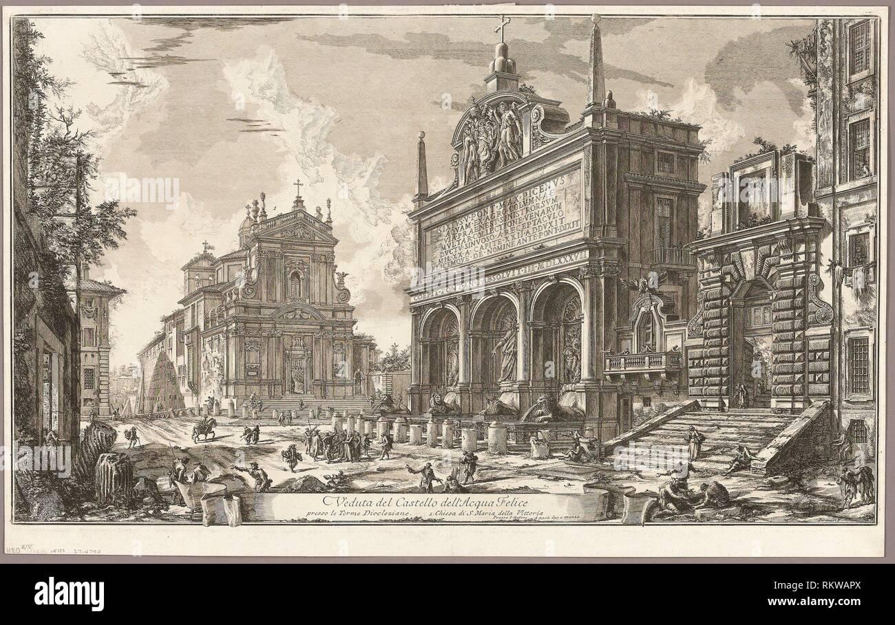 View of the Fountainhead of the Acqua Felice, from Views of Rome - 1750/59 - Giovanni Battista Piranesi Italian, 1720-1778 - Artist: Giovanni - Stock Image
