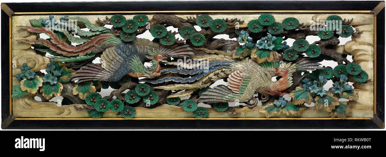 Two carved wooden transoms (ramma) panels from the Hooden - 1893 - Takamura Koun Japanese, 1852-1934 - Artist: Takamura Kôun, Origin: Japan, Date: - Stock Image