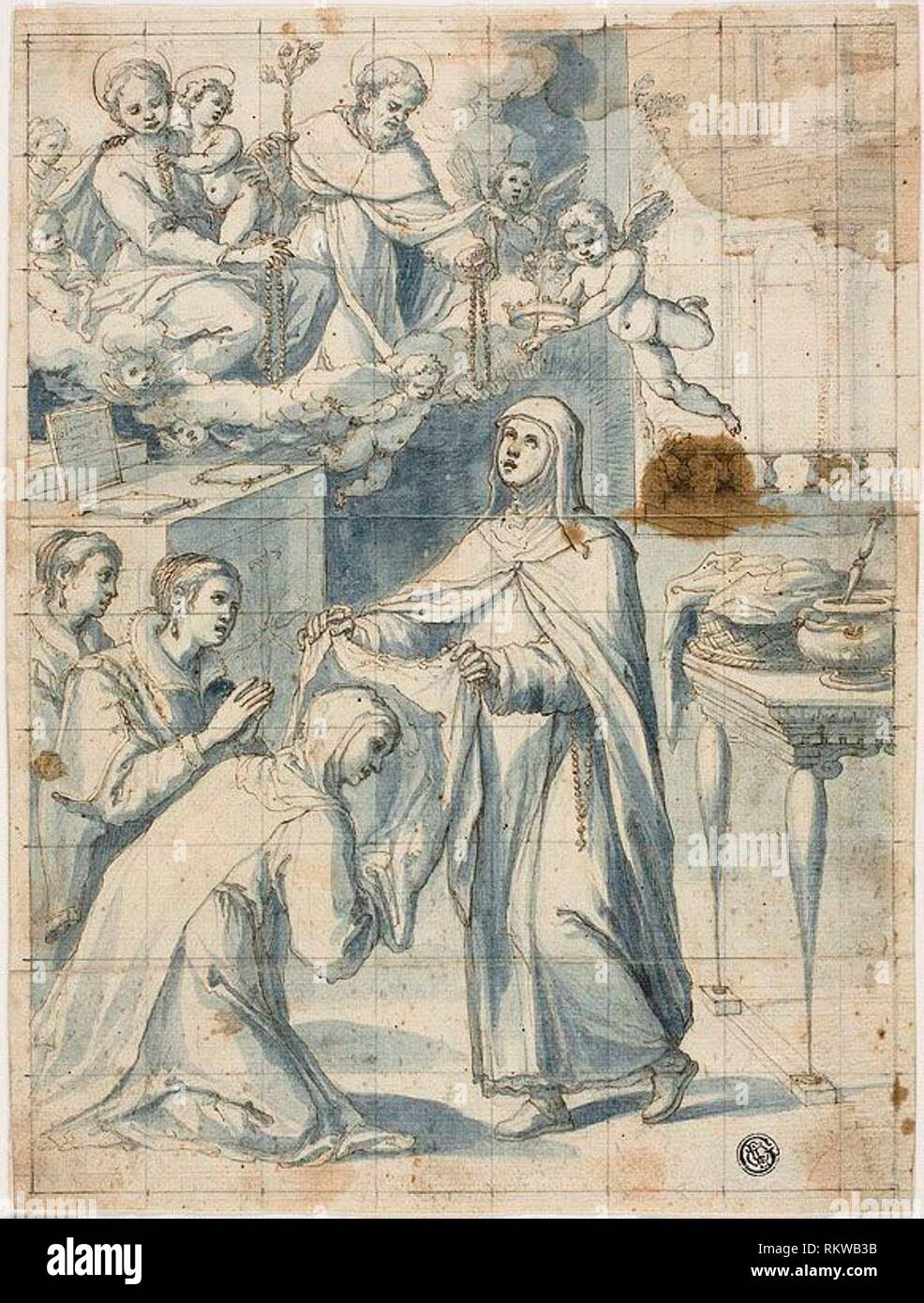 Female Dominican Saint Beholding the Virgin and Child and Saint Dominic, While Vesting a Novice - Italian, Tuscan Late 16th century - Artist: Unknown - Stock Image