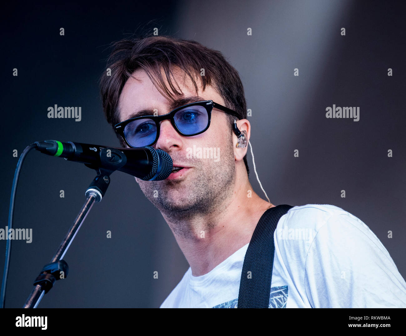 Justin Young from The Vaccines performing live at Latitude Festival 2018. - Stock Image