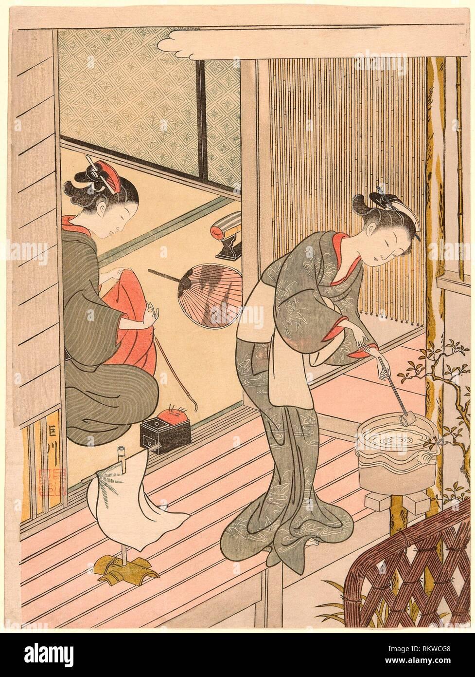 Returning Sails of the Towel Rack (Tenugui-kake no kihan), from the series ''Eight Views of the Parlor (Zashiki hakkei)'' - c. 1766 - Suzuki Harunobu - Stock Image