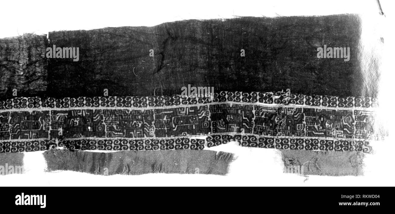 Fragment - A.D. 700/900 - Nazca-Wari Peru - Artist: Nazca, Origin: Peru, Date: 700 AD–1900, Medium: Slit tapestry and plain cloth; applied plain - Stock Image
