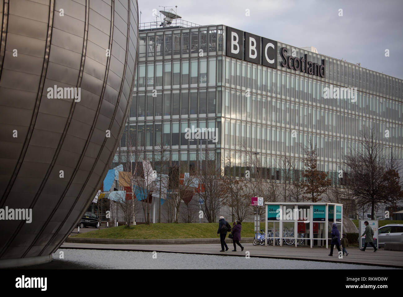 BBC Scotland building at Pacific Quay, Glasgow, Scotland Stock Photo