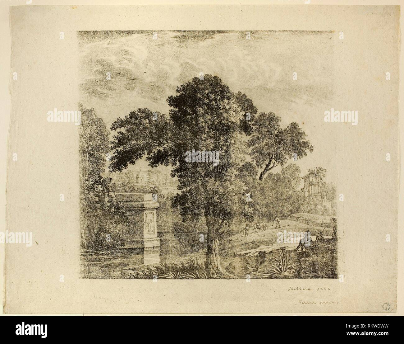 Landscape with Tree - 1802 - Mitterer (Unknown, 19th century) Style of Claude Lorrain (French, 1600-1682) - Artist: Mitterer, Origin: France, Date: - Stock Image