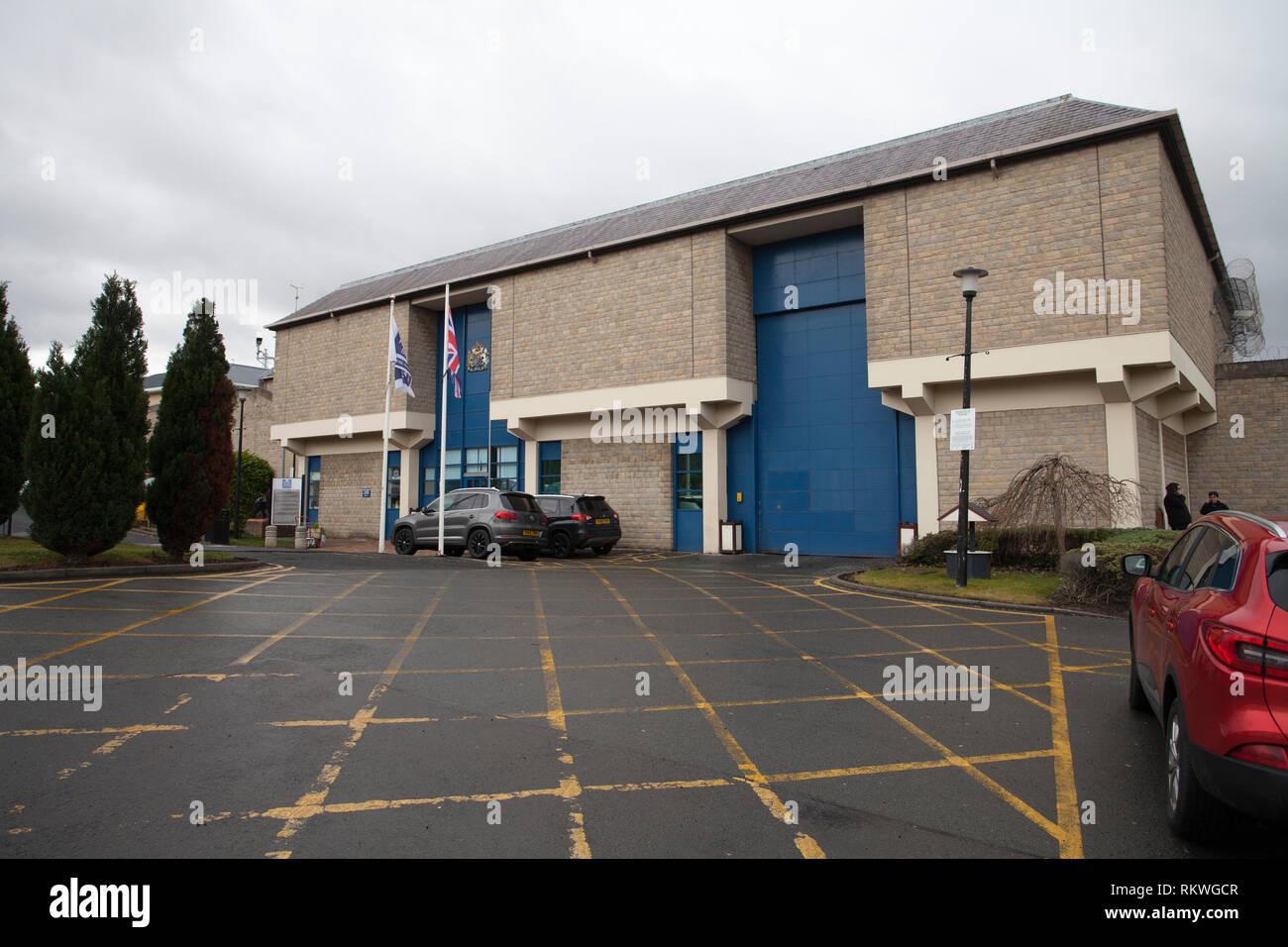 Durham,UK, 12th February 2019. HMP Durham, hit by rising violence and a spate of drug related deaths was promised scanning equipment only for it to be diverted to another jail, according to a watchdog report.Scene outside the prison today. Credit David Dixon / Alamy Live News - Stock Image