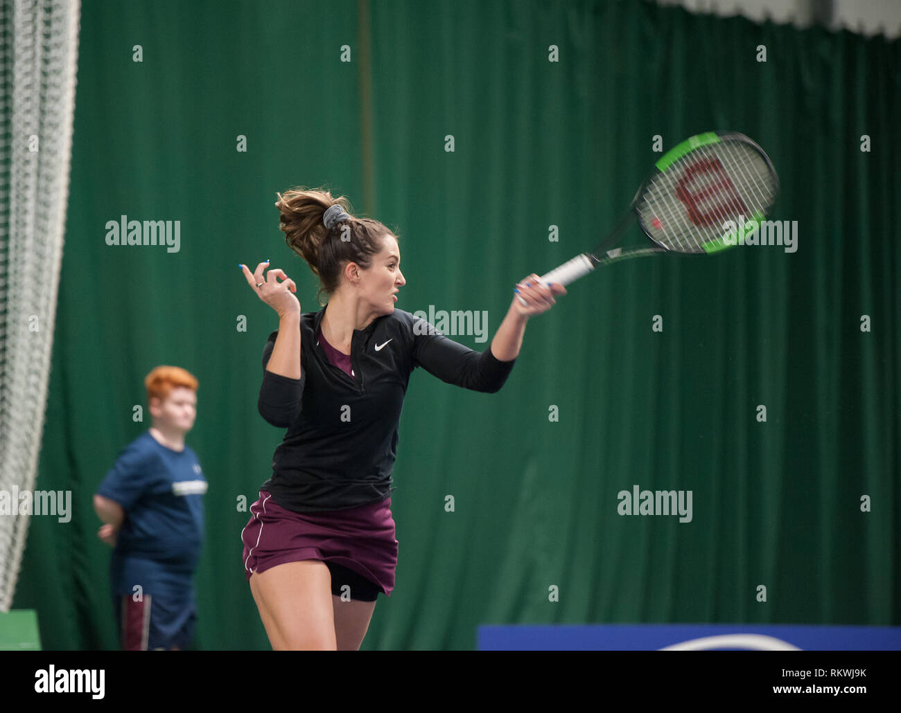 Shrewsbury, Shropshire, UK. 12th February, 2019. Laura Robson from Britain in the 1st round of the $60,000 event at The Shrewsbury Club on Tuesday 12th February 2019 playing against Kathinka Von Deichmann ( Liechtenstein) Credit: RICHARD DAWSON/Alamy Live News - Stock Image