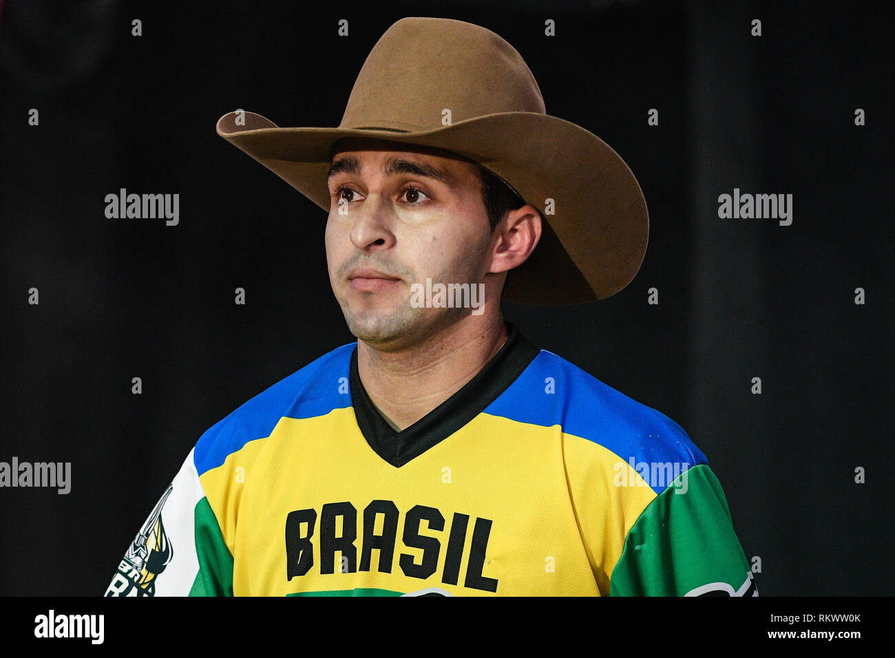 Arlington, Texas, USA. 10th Feb, 2019. CLAUDIO MONTANHA JR is introduced to the crowd before the second day of competition at AT&T Stadium in Arlington, Texas. Credit: Amy Sanderson/ZUMA Wire/Alamy Live News - Stock Image