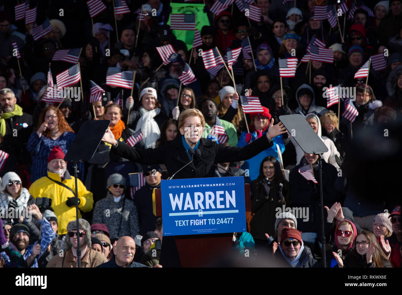February 9. 2019 Lawrence, Massachusetts, USA: U.S. Senator Elizabeth Warren (D-MA) announcing to launch her campaign for the 2020 Democratic presidential nomination in Lawrence, Massachusetts. Credit: Keiko Hiromi/AFLO/Alamy Live News Stock Photo