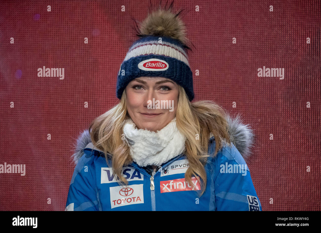 Are, Sweden. 05th Feb, 2019. Alpine Skiing :, Super G, Ladies: Winner Mikaela Shiffrin at the medal ceremony. Credit: Michael Kappeler/dpa/Alamy Live News - Stock Image