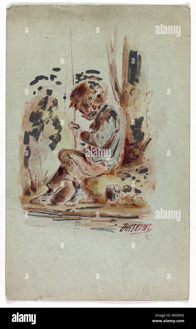 Boy Fishing - Dupenvant French, 19th century - Artist