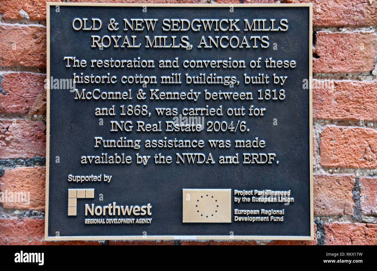 Cotton Mills Plaque at Ancoats in Manchester - Stock Image