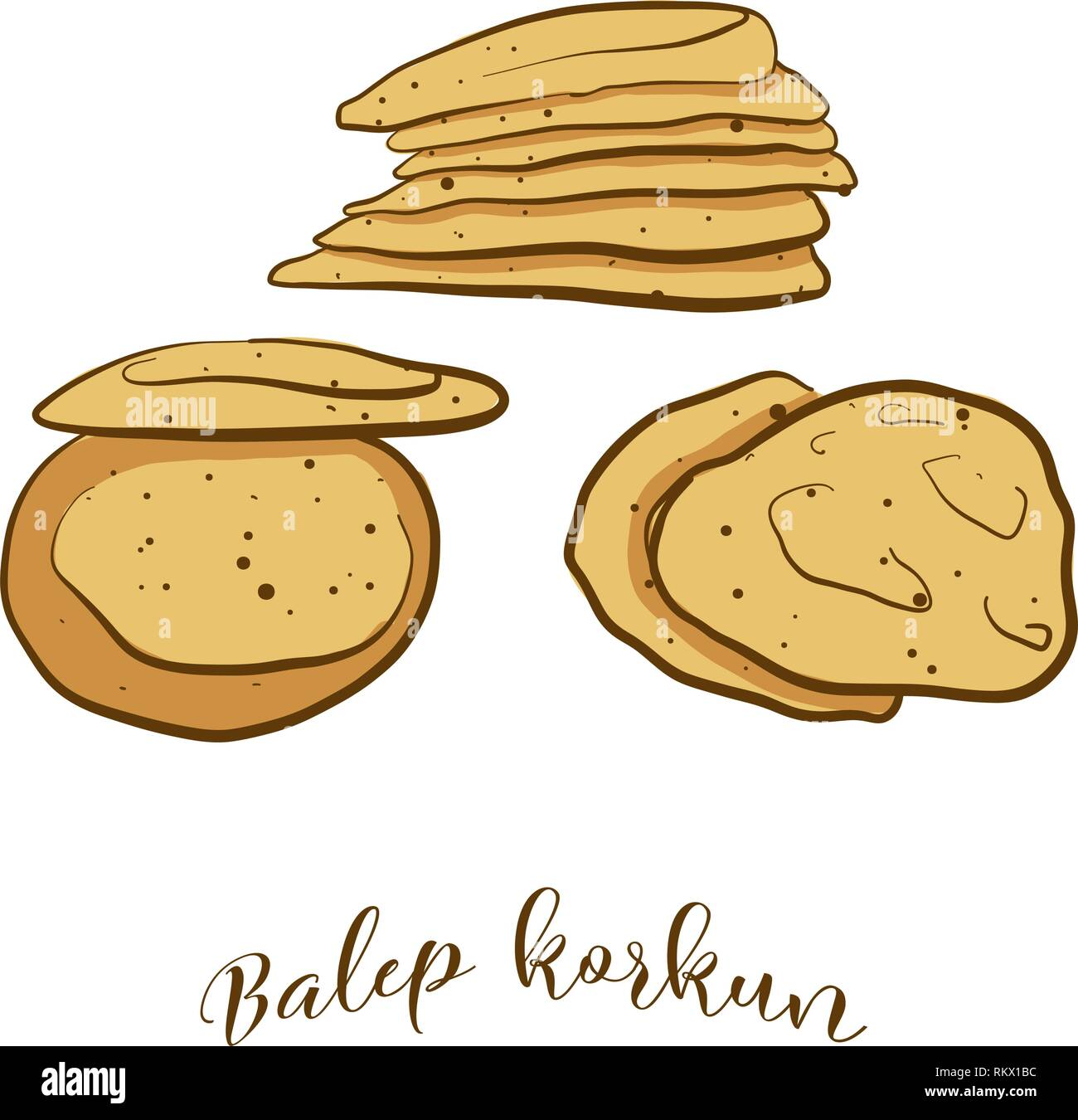 Colored sketches of Balep korkun bread. Vector drawing of Flatbread food, usually known in Tibet. Colored Bread illustration series. - Stock Vector