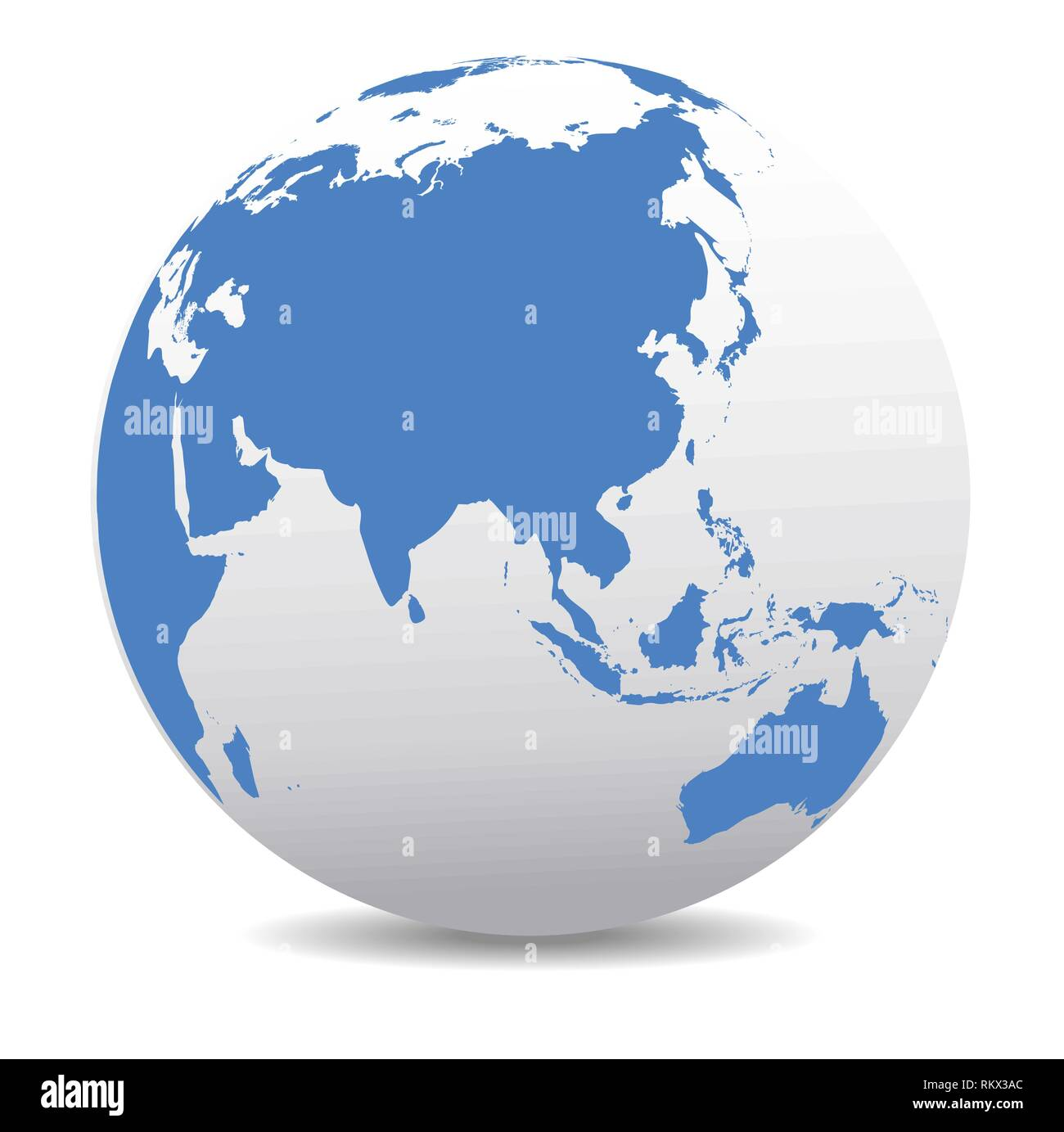 China and Asia, Global World, Vector Map Icon of the World Globe - Stock Vector