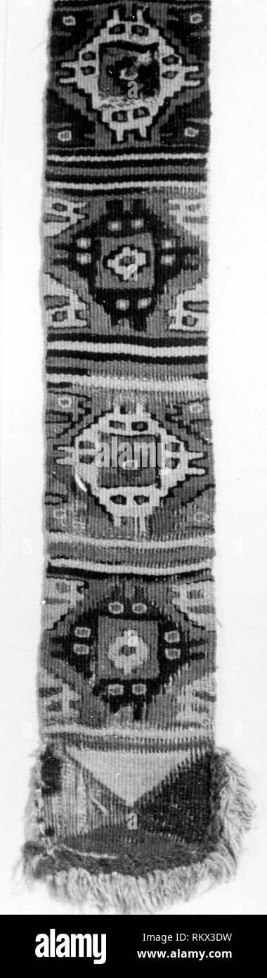 Loincloth Fragment - A.D. 1000/1476 - Probably central coast, Peru - Origin: Peru, Date: 1000-1476, Medium: Slit tapestry, applied fringe., - Stock Image