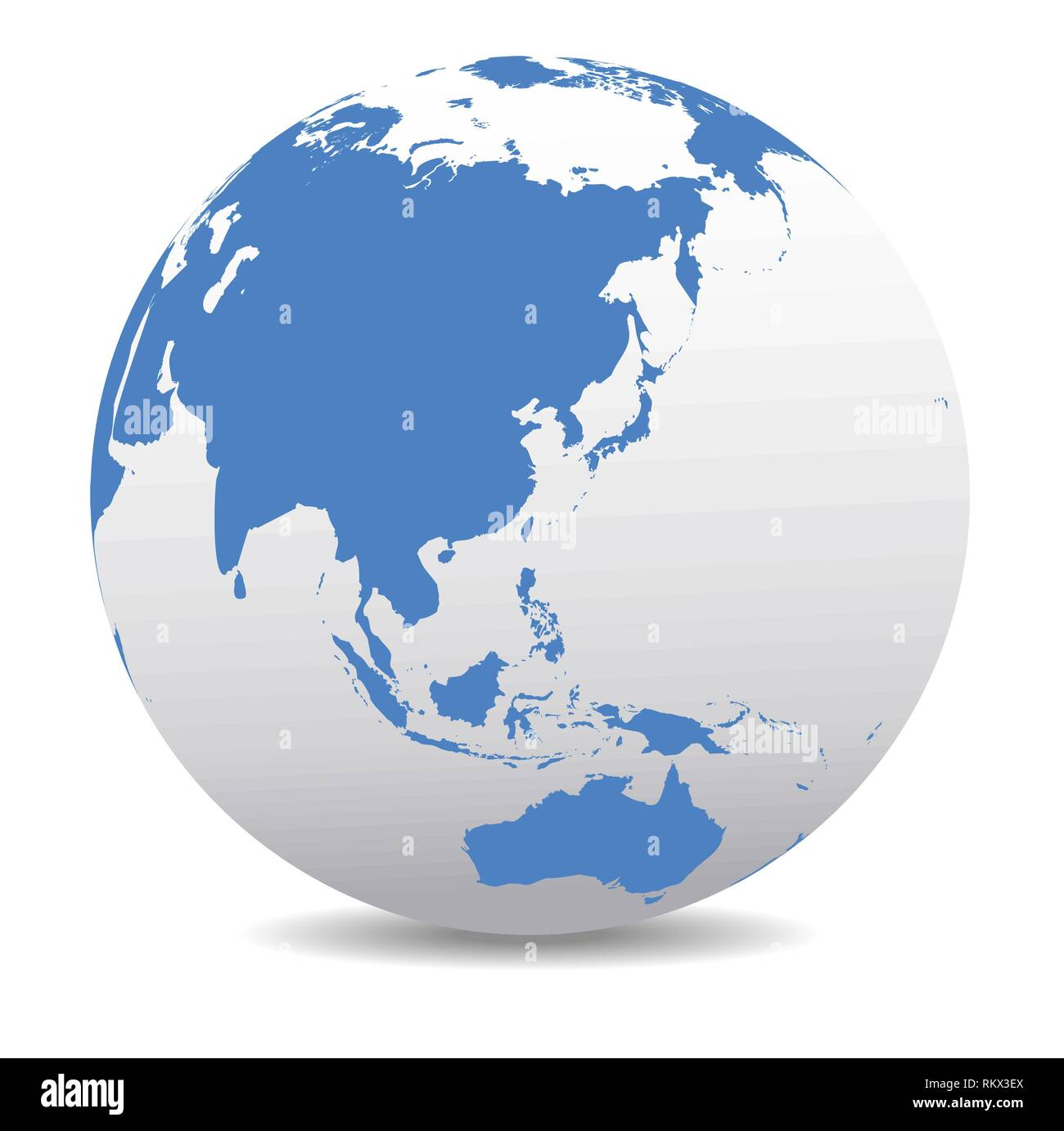 China, Japan, Malaysia, Thailand, Indonesia, Global World, Vector Map Icon of the World Globe - Stock Vector