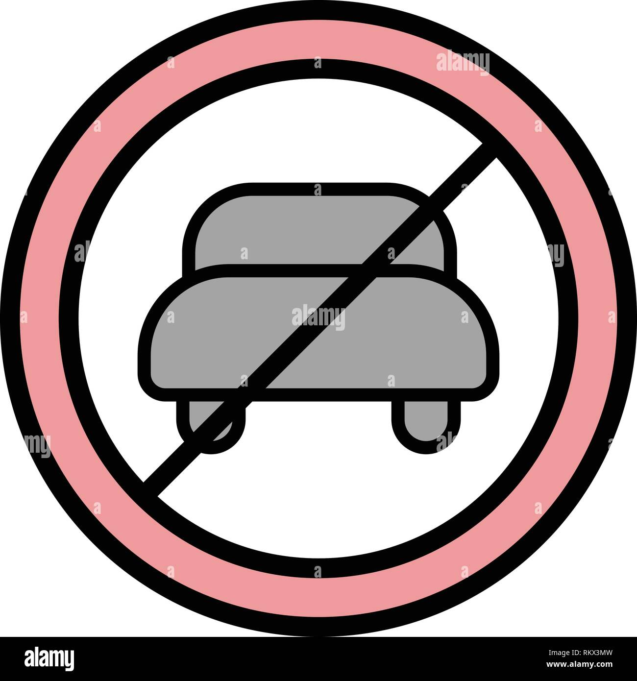 Vector No entry for motor vehicle Icon Sign Icon Vector Illustration For Personal And Commercial Use... Clean Look Trendy Icon... - Stock Image